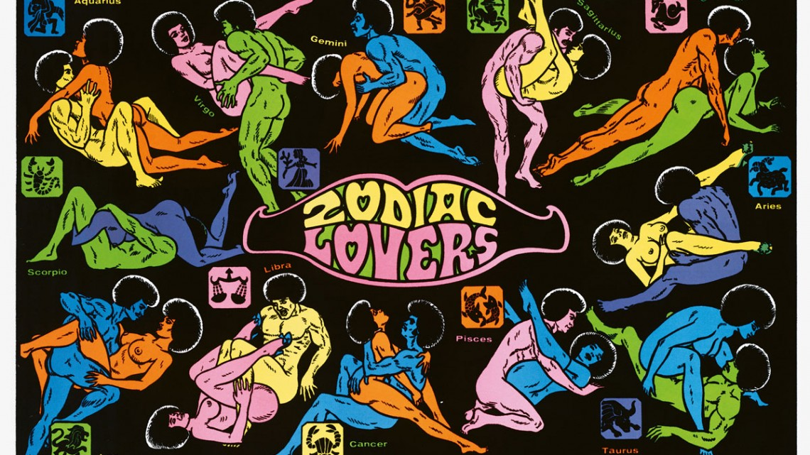"""This """"Zodiac Lovers"""" day-glo sex position poster from 1973 is perfect for adorning the bedroom wall--or, better yet, ceiling--of any '60s love shack."""