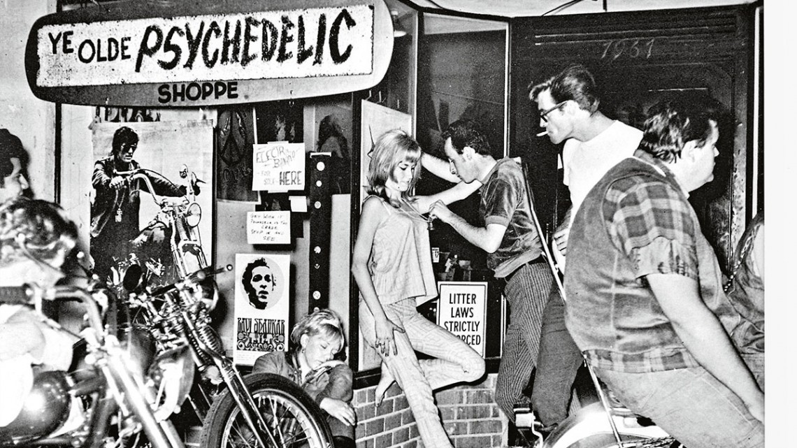 This photo from Love In, circa 1970, luridly evokes the inevitable melding of biker and hippie culture.